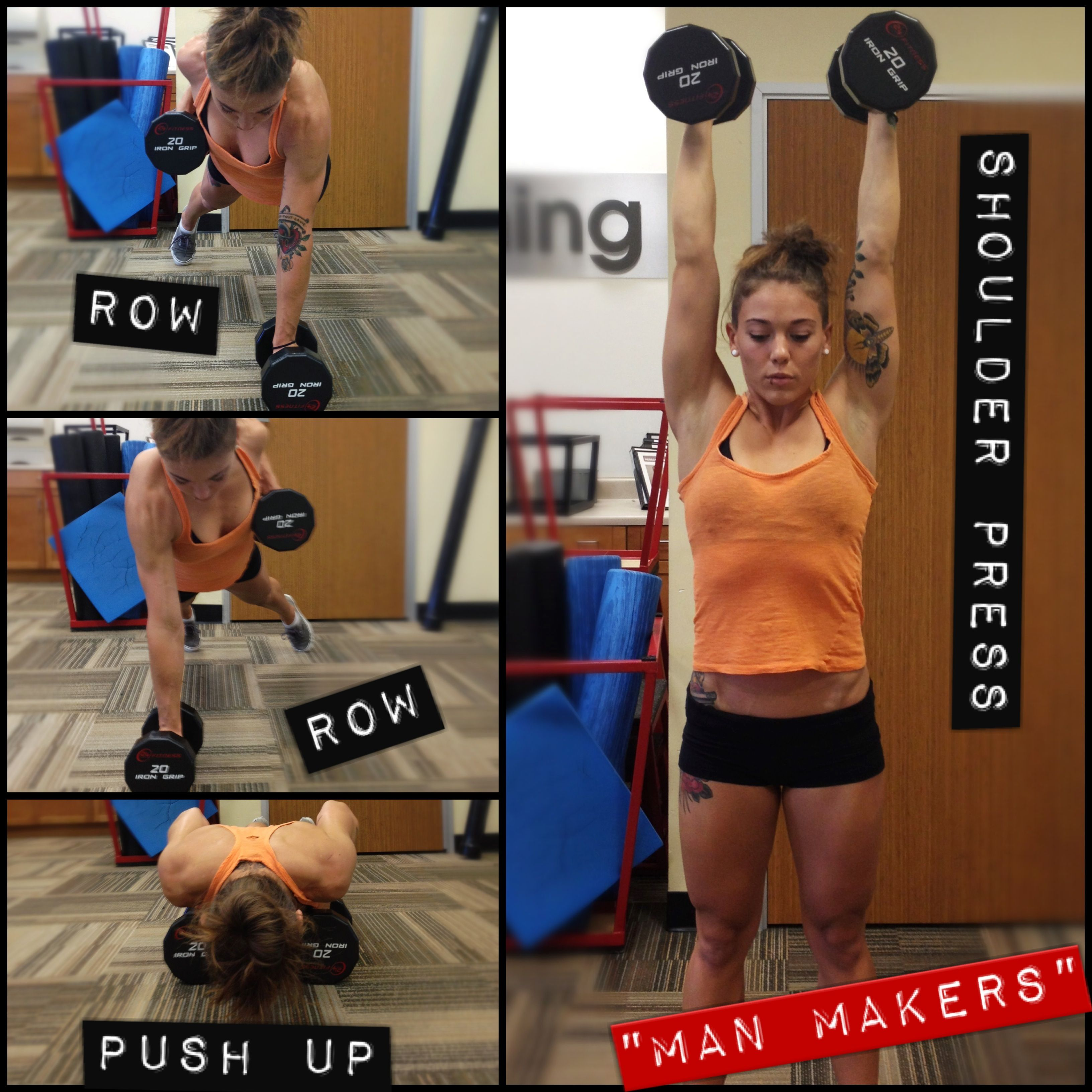 Man Makers: Start in plank position holding a dumbbell in each hand. Row your right arm up, pinching your shoulder blade back to bring the weight up to your chest and sending your elbow straight up. Return the weight to the ground then row on the opposite side. Next, perform a push-up. Then, jump your feet forward to meet your hands, stand up and press the weights overhead locking your arms out at the top. That's ONE rep! #petitefi #fitlikefi #workout