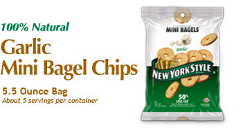 New York Style Garlic Mini Bagel Chips - A unique snack with craveable flavors and a healthy halo. http://www.newyorkstyle.com/ #snacks #bagels #fingerfoods #quickbites #garlic #healthy