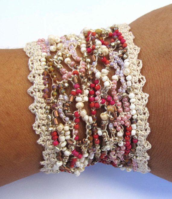 Beaded cuff bracelet crochet freeform Angel wing by CoffyCrochet, $45.00