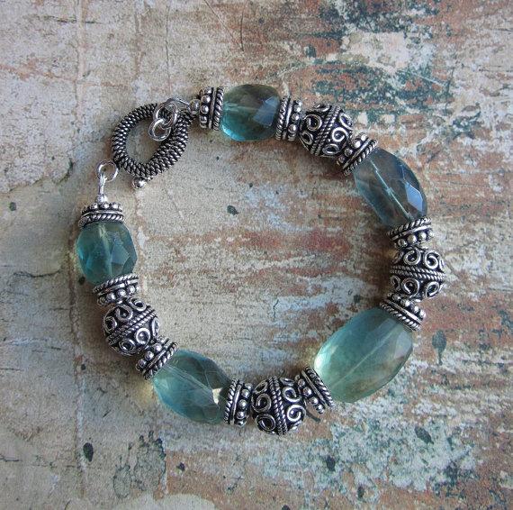 e9371f853e13 Tahiti Breeze-- AA Blue Flourite faceted and Silver Bali Bracelet ...