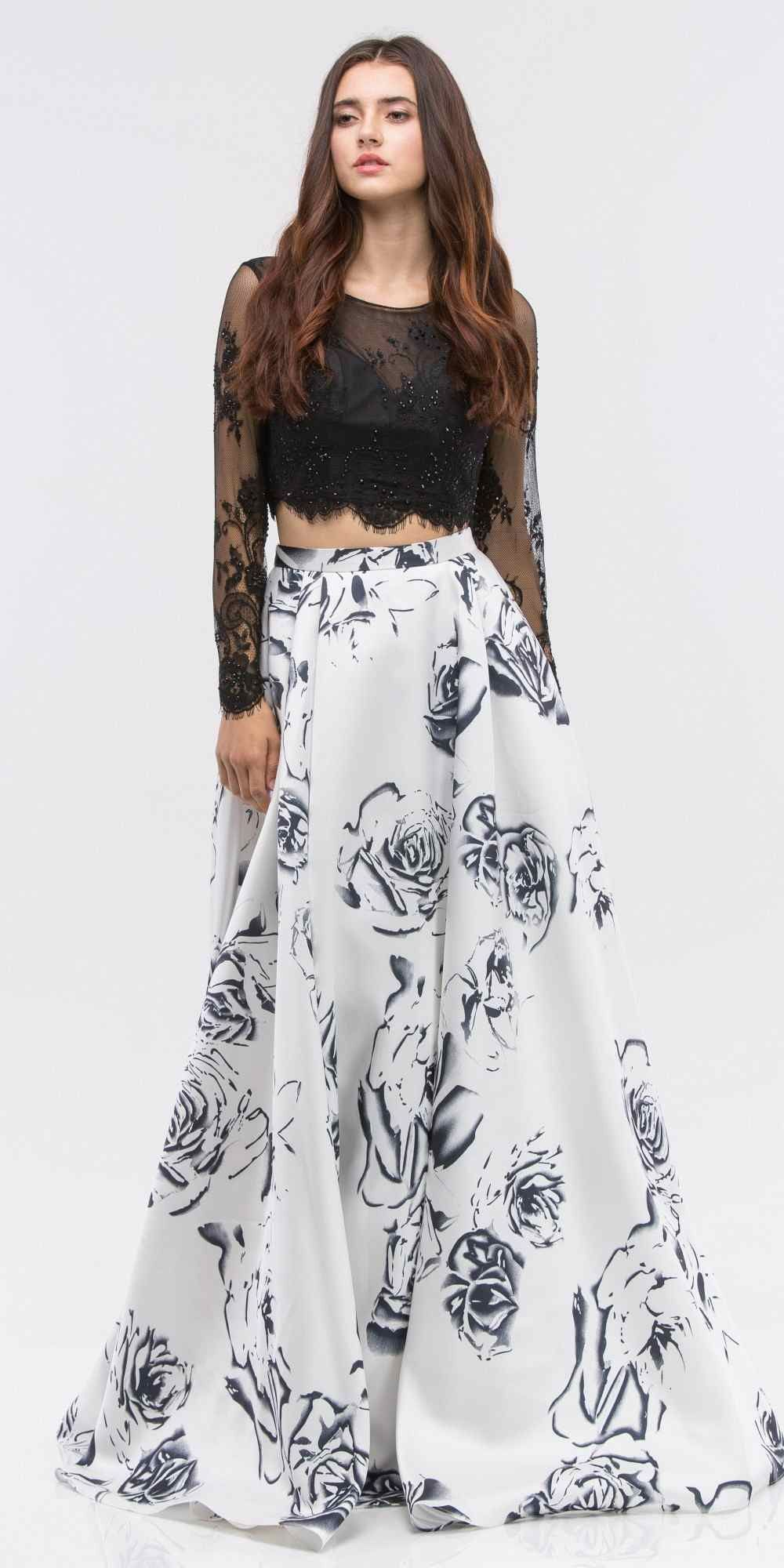 Black long sleeves top white print skirt twopiece prom gown products