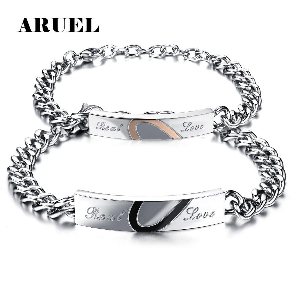 Aruel vintage lover l titanium stainless steel heart bracelets
