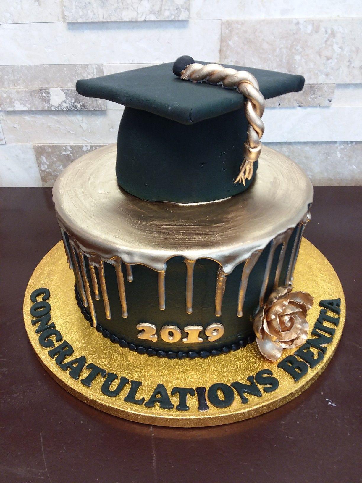 Grad Cake With 3 D Cap Gold Ganache Drip On Black Buttercream