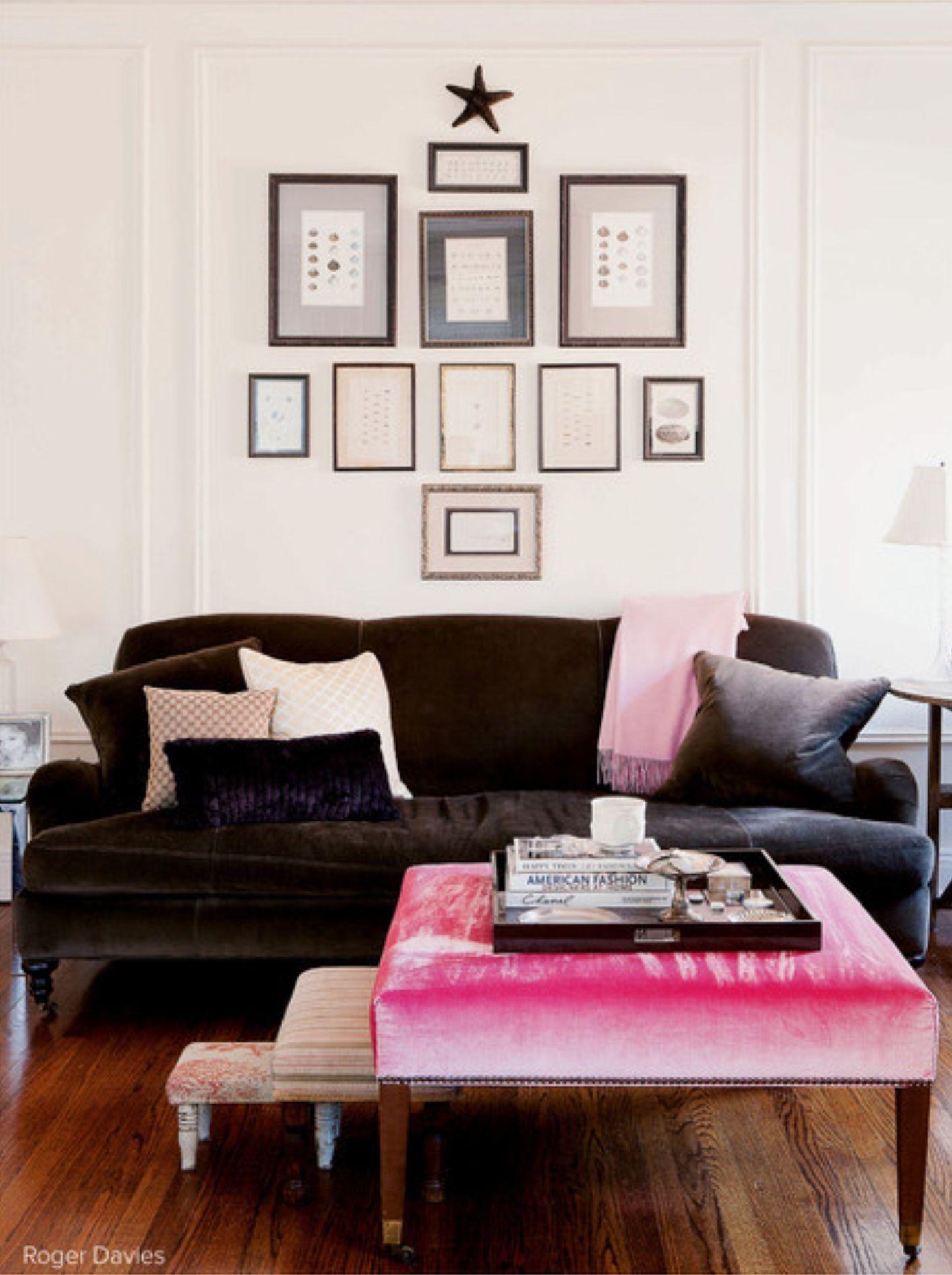 f08dc46ac8218 English roll-arm sofa, gallery wall, fuchsia, light/dark | Let's ...