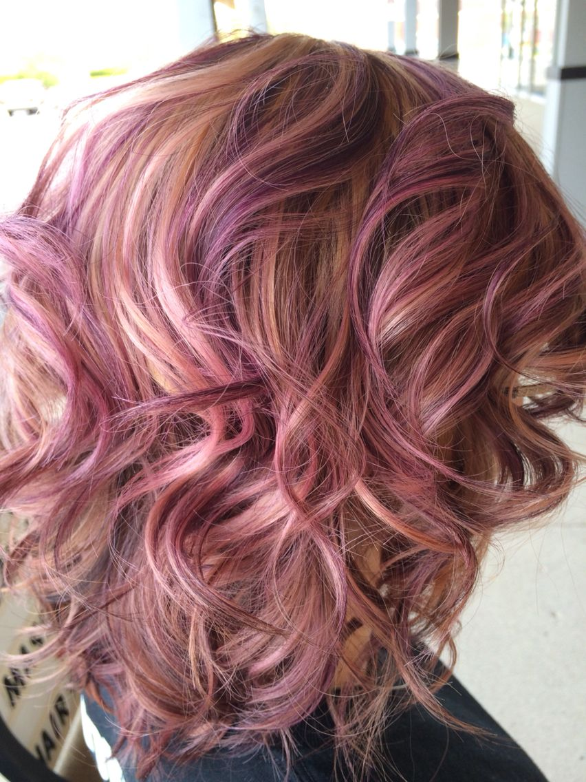 Purple blonde curly hair highlights by Kait Manfreda ...