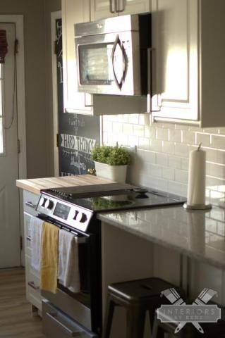 Great Room Reveal Open Concept LivingDining Room Kitchen DIY Custom Kitchen With Subway Tile Backsplash Concept