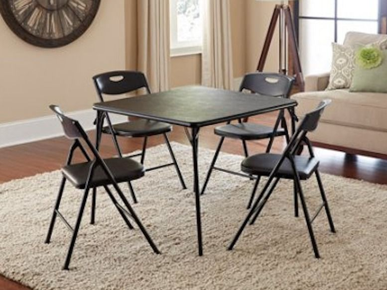 Game Table And Chairs Folding Card Table Set Indoor Outdoor Black