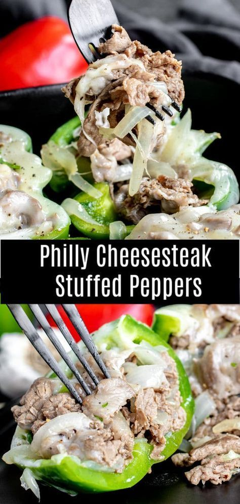 This low carb recipe for Philly Cheesesteak Stuffed Peppers is packed full of thinly sliced steak and onions, stuffed into green bell peppers, and topped with melted provolone cheese. It is a low carb, keto dinner recipe that can be made ahead of time and stored in the freezer. Perfect for low carb meal prep!