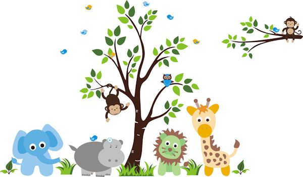 Baby Green Lion Nursery Tree Wall Mural Stickers Sticker Outlet