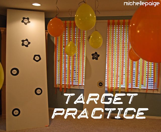 Nerf party Target practice on laminate boards boy birthday ideas