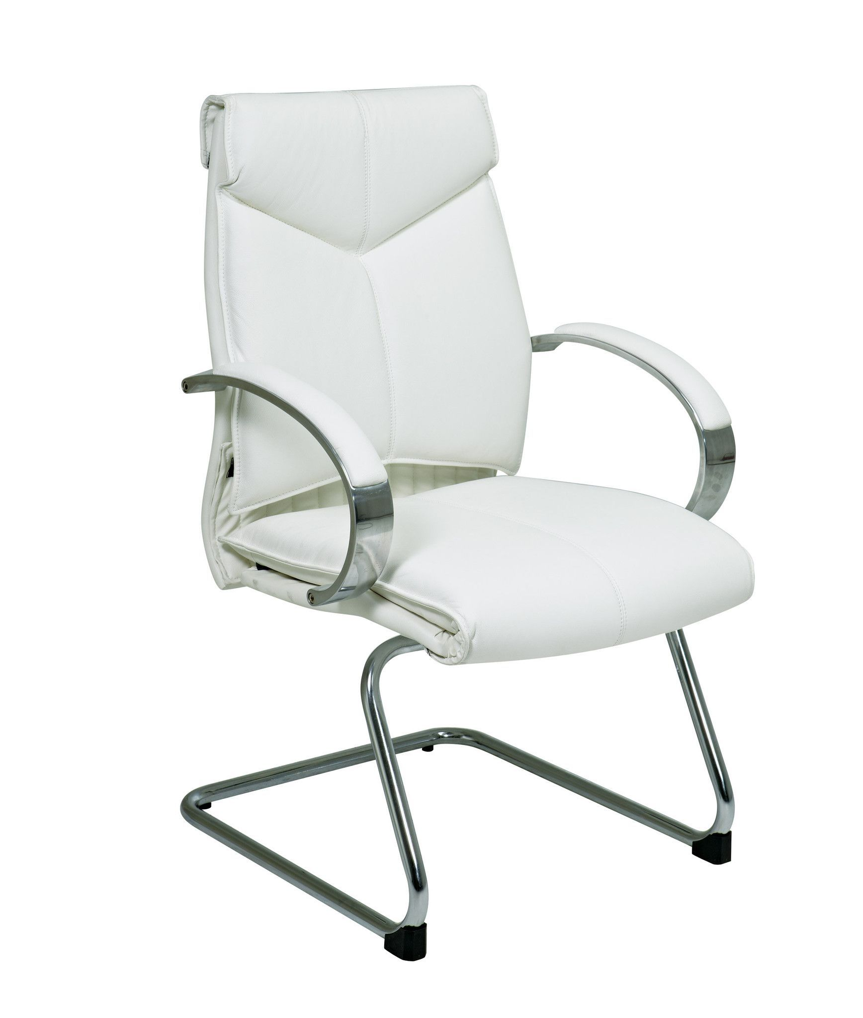 Pro-Line II™ Deluxe Mid Back White Leather Visitors Chair with Chrome Base and Padded Polished Aluminum Arms