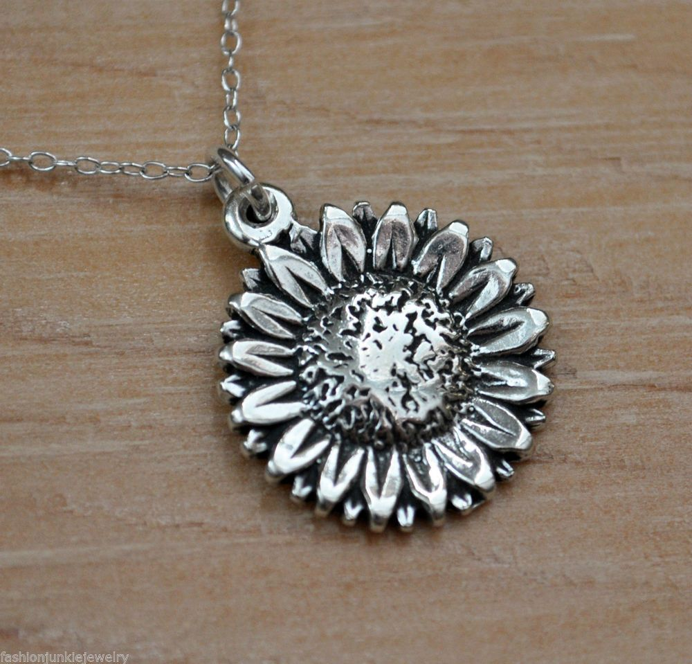 Sunflower Necklace 925 Sterling Silver Sunflower Charm