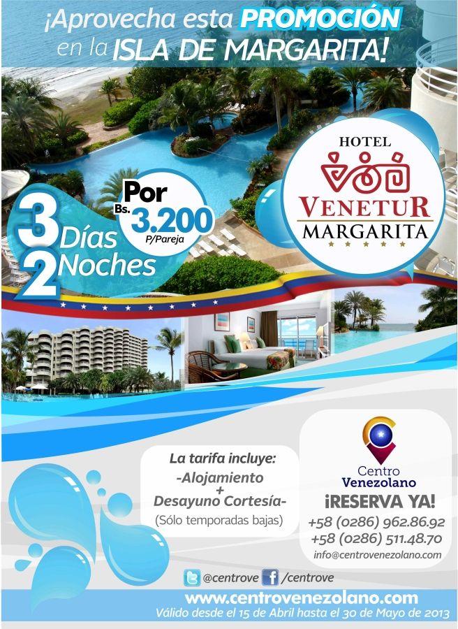 """Escápate a #Margarita y hospédate en las maravillosas instalaciones del """"Hotel Venetur Margarita"""" por 3 días y 2 noches, acompañado de tu pareja, amiga o amigo. (tarifa por pareja).  **Válido desde el 15/04 hasta el 30/05 de 2013  ¡¡Reserva Ya!!"""