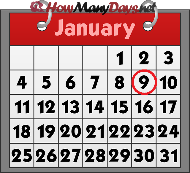 How Many Days Until 9th January 2018 January 9 2018 Tuesday How