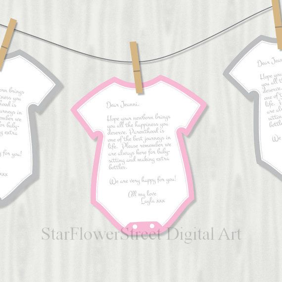 Pink Gray Wishes for Baby Shower Activity Girl games Cutout Printable cards grey digital download decoration instant bodysuit banner cut out by StarFlowerStreetDA