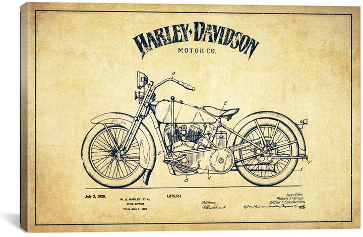 Icanvas harley davidson vintage patent blueprint canvas art malvernweather Gallery