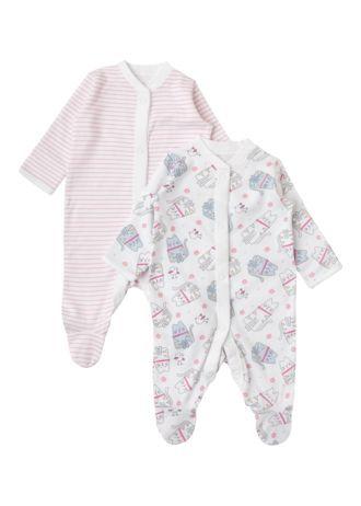 Matalan - 2 Pack Blue Cat/Stripe Baby Sleepsuits