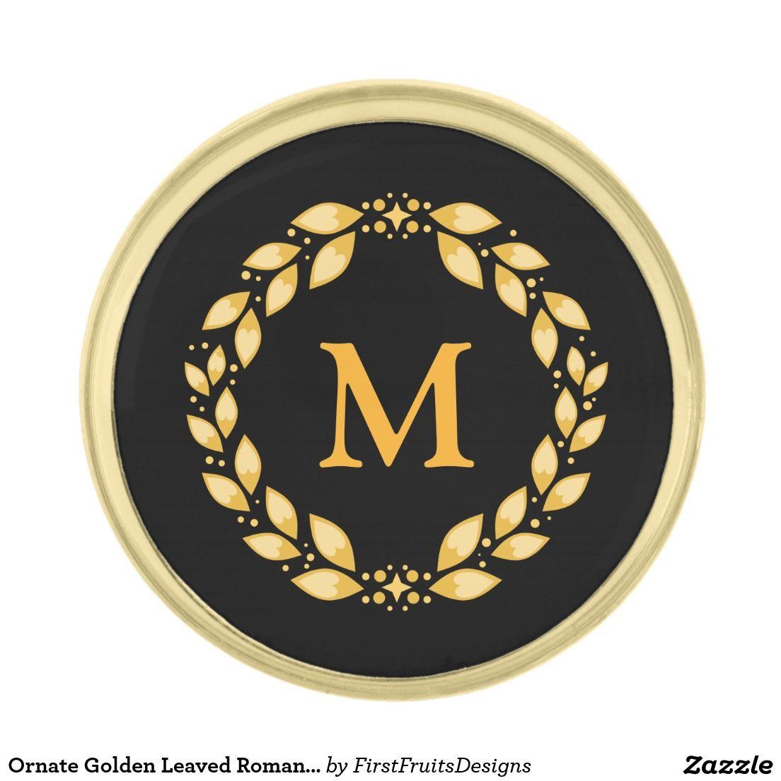 Ornate Golden Leaved Roman Wreath Monogram - Black Gold Finish Lapel Pin