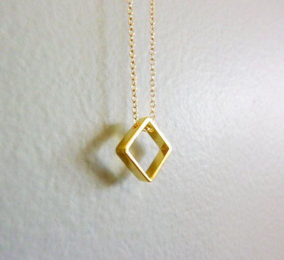 Gold square charm necklace accessories cool cute pinterest gold square charm necklace aloadofball Images