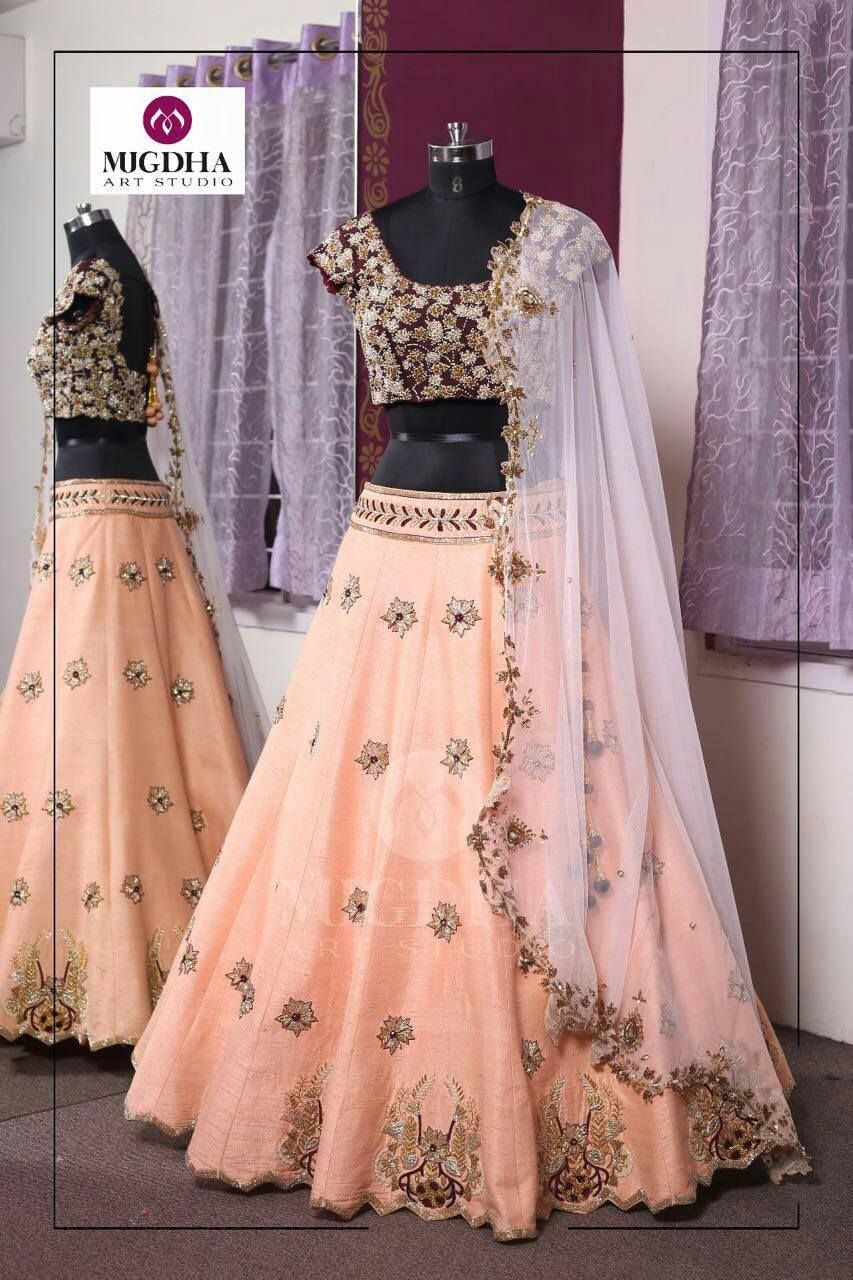 Lovely lehenga with creative hand made work from MugdhaArtStudio