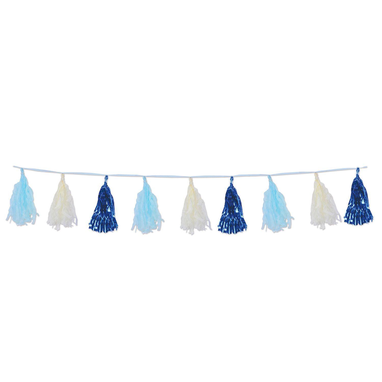 Mettallic Blue Garland Tissue Tassel
