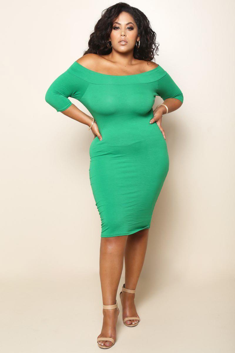 A plus size mini dress with an off-shoulder neckline. Features half ...