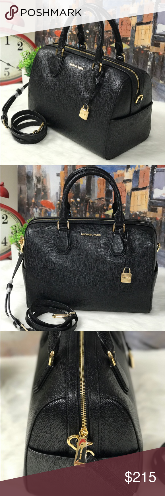 9a50f1b44379 MICHAEL KORS MERCER DUFFLE BAG This elegant bag is made with high quality  leather