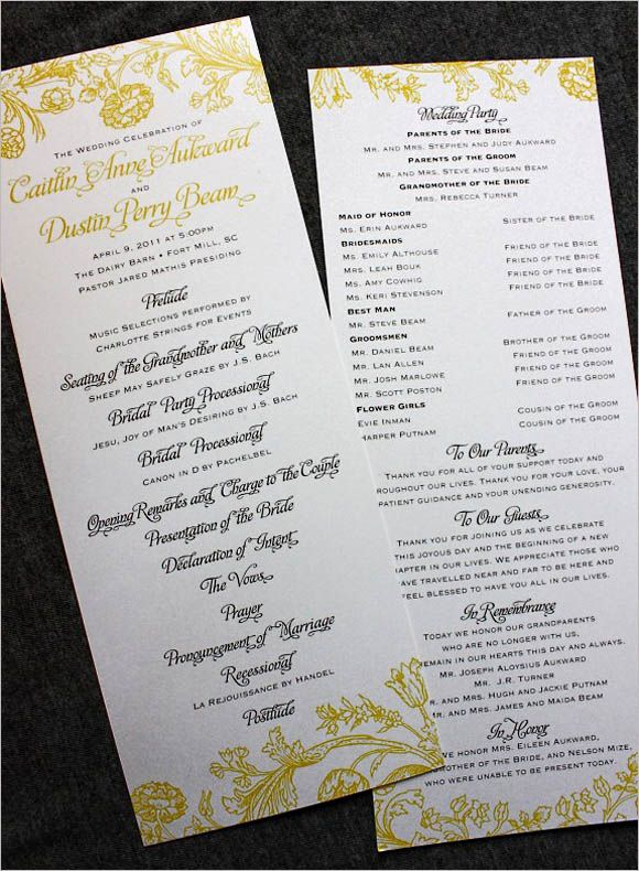 Creative Wedding Programs Wedding programs, Program design and - sample wedding guest list