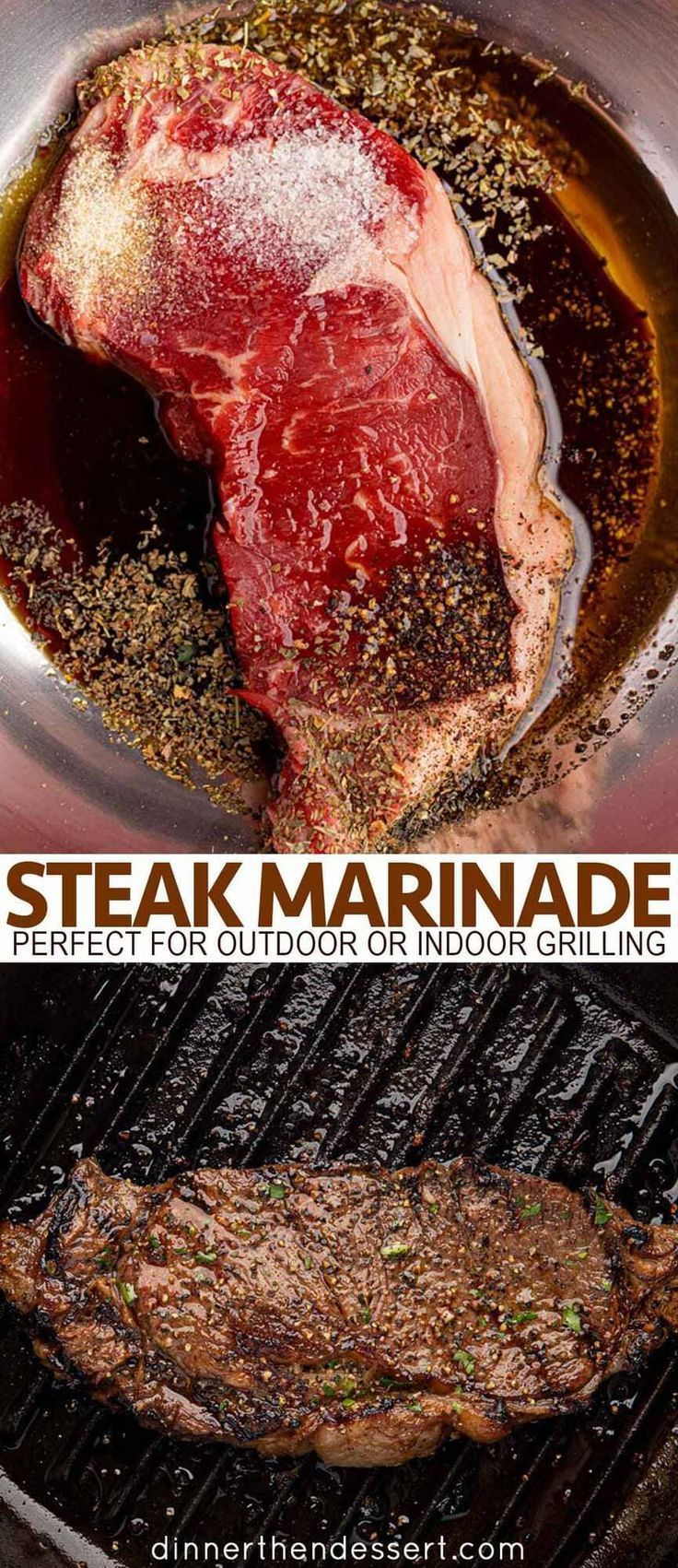 Steak Marinade that's flavorful, easy and perfect for outdoor or indoor grilling... - New Ideas #grilledsteakmarinades