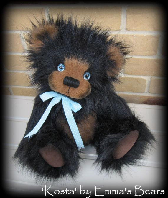 Kosta KIT - make your own 16IN Black and Choc artist bear with painted glass eyes