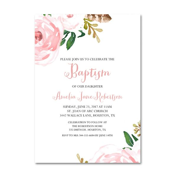 Free Printable Editable Pdf Baptism Invitation Diy Pink Watercolor Flowers Instant Download Edit In Adobe Reader Instant Download Printables Baptism Invitations Diy Free Printable Invitations Templates Christening Invitations