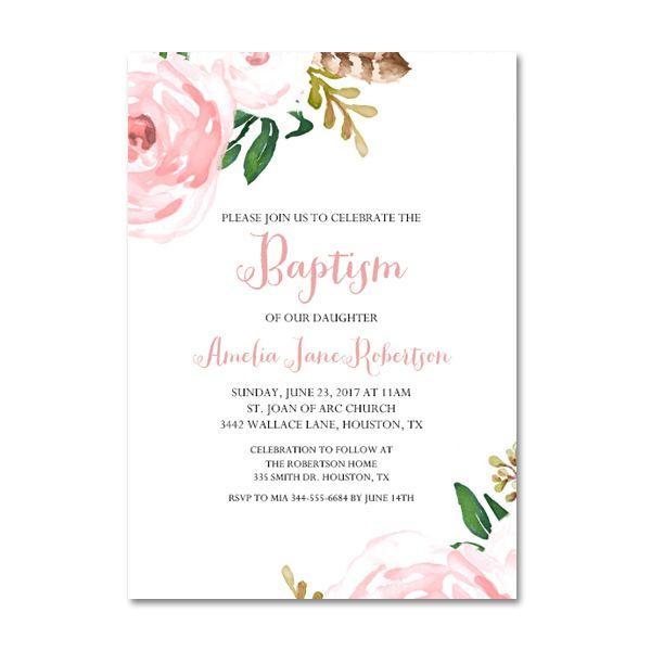 editable pdf baptism invitation diy pink watercolor flowers