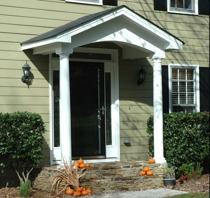 Simple Gable Portico On Salt Box House Designed And Built By Georgia Front Porch Front Porch Design Porch Design Portico Design
