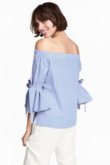 Blusa hombro descubierto - Azul Rayas - MUJER  498b7999210a
