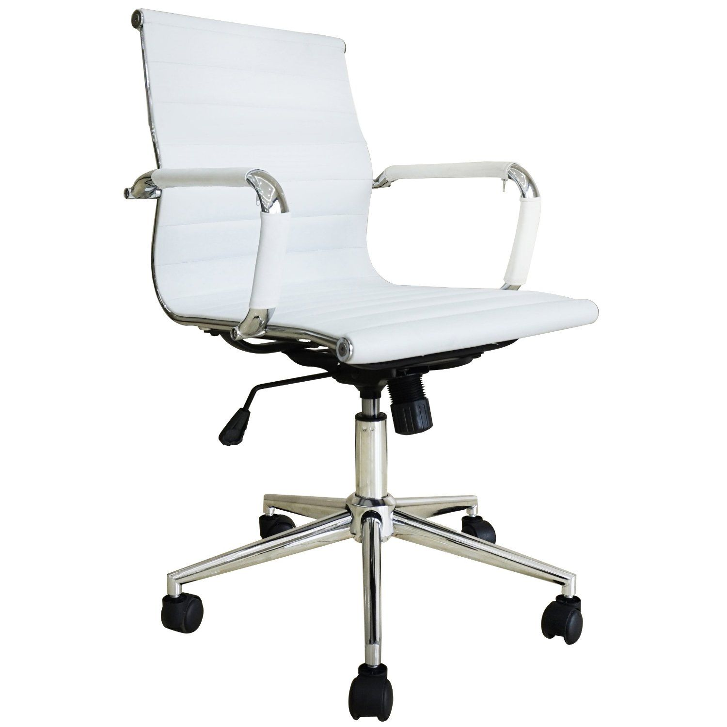 white mesh desk chair with arms