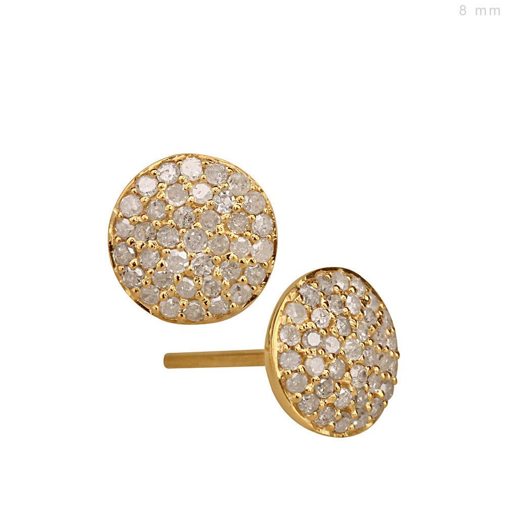 Solid 14k Yellow Gold Pave Diamond Stud Earrings Designer Jewelry Christmas Gift Handmade