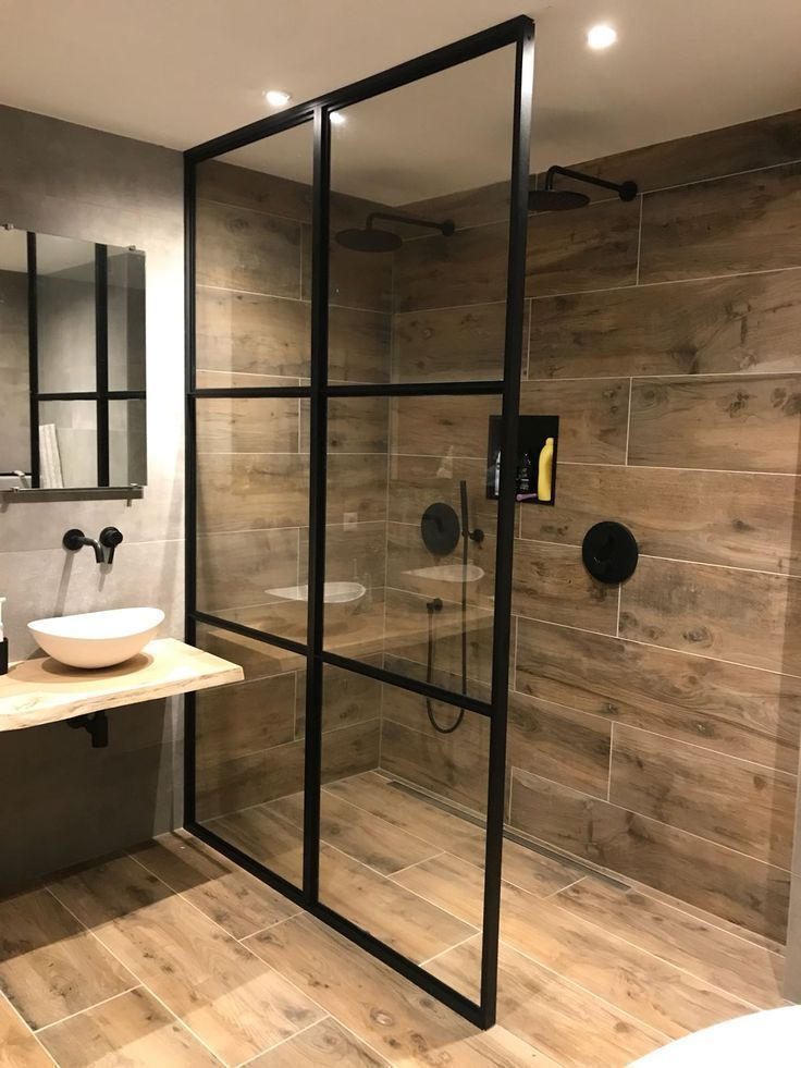 Photo of Shower cabin made of steel with glass and would douchewa assembled