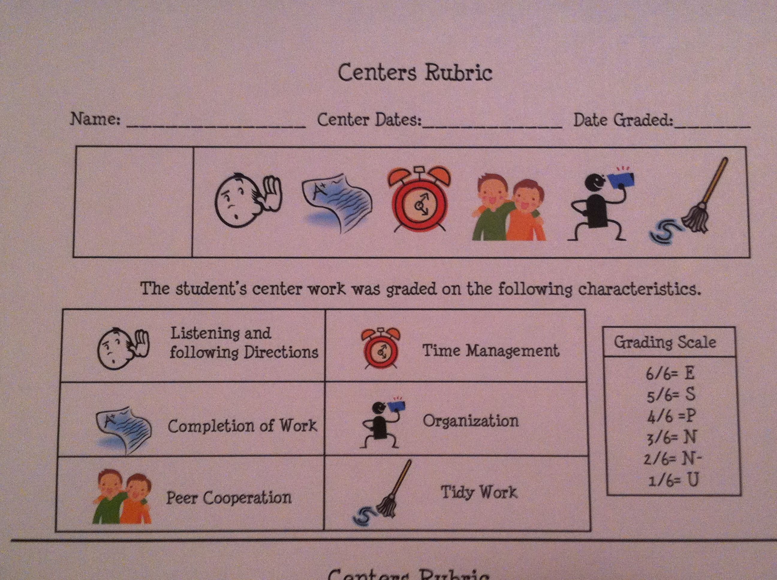 Created Rubric Hold Kinder Students