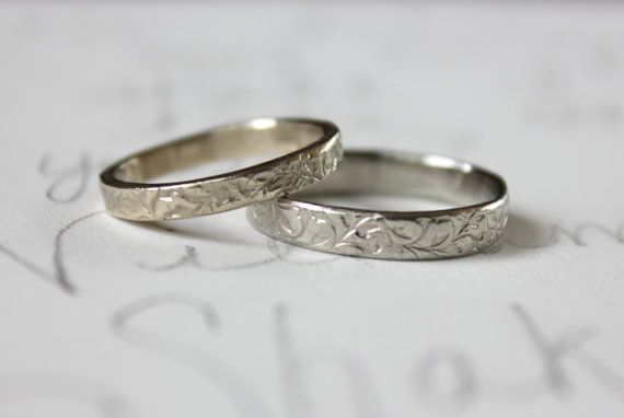 10k white gold wedding ring . 3 mm womens wedding band . ethical recycled gold vine leaf wedding band . engraved secret message . vine ring