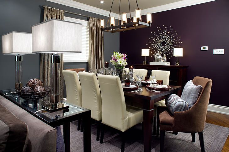 20 Beautiful Purple Accent Wall Ideas Purple Dining Room