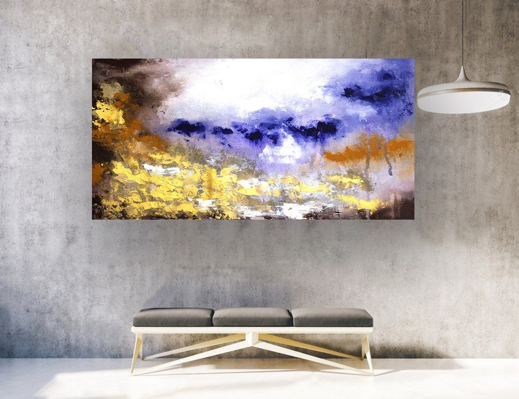 Extra Large Abstract Painting On Canvas Panaromic Wide La0322b