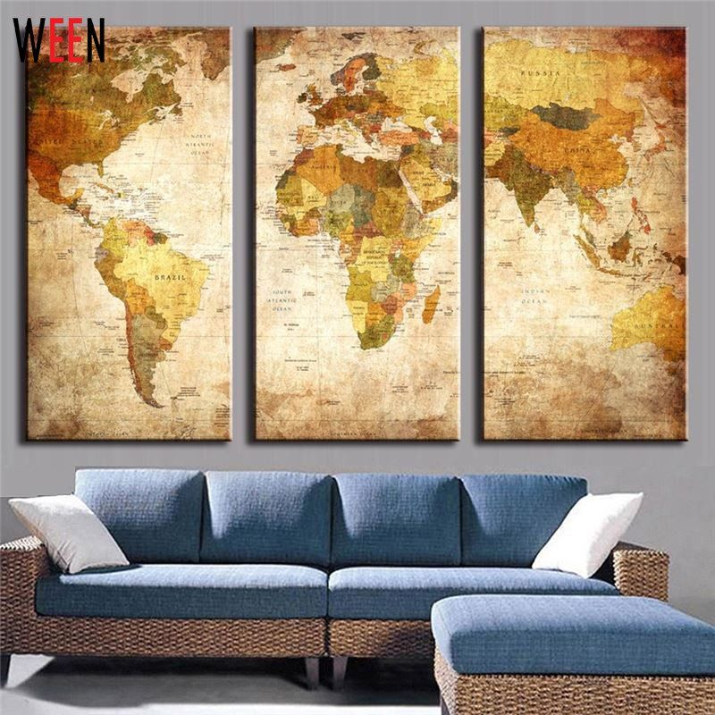 3 Panels Abstract World Map Modern Retro Home Wall Art Decor Canvas ...