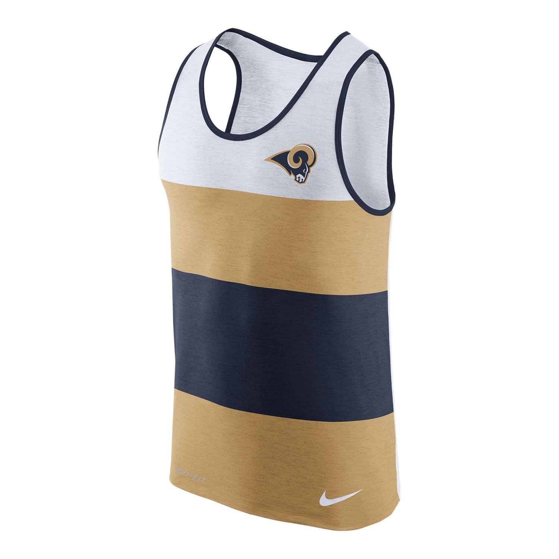 Top Los Angeles Rams Nike NFL Men's Dri FIT Stripe Tank   Los Angeles  hot sale