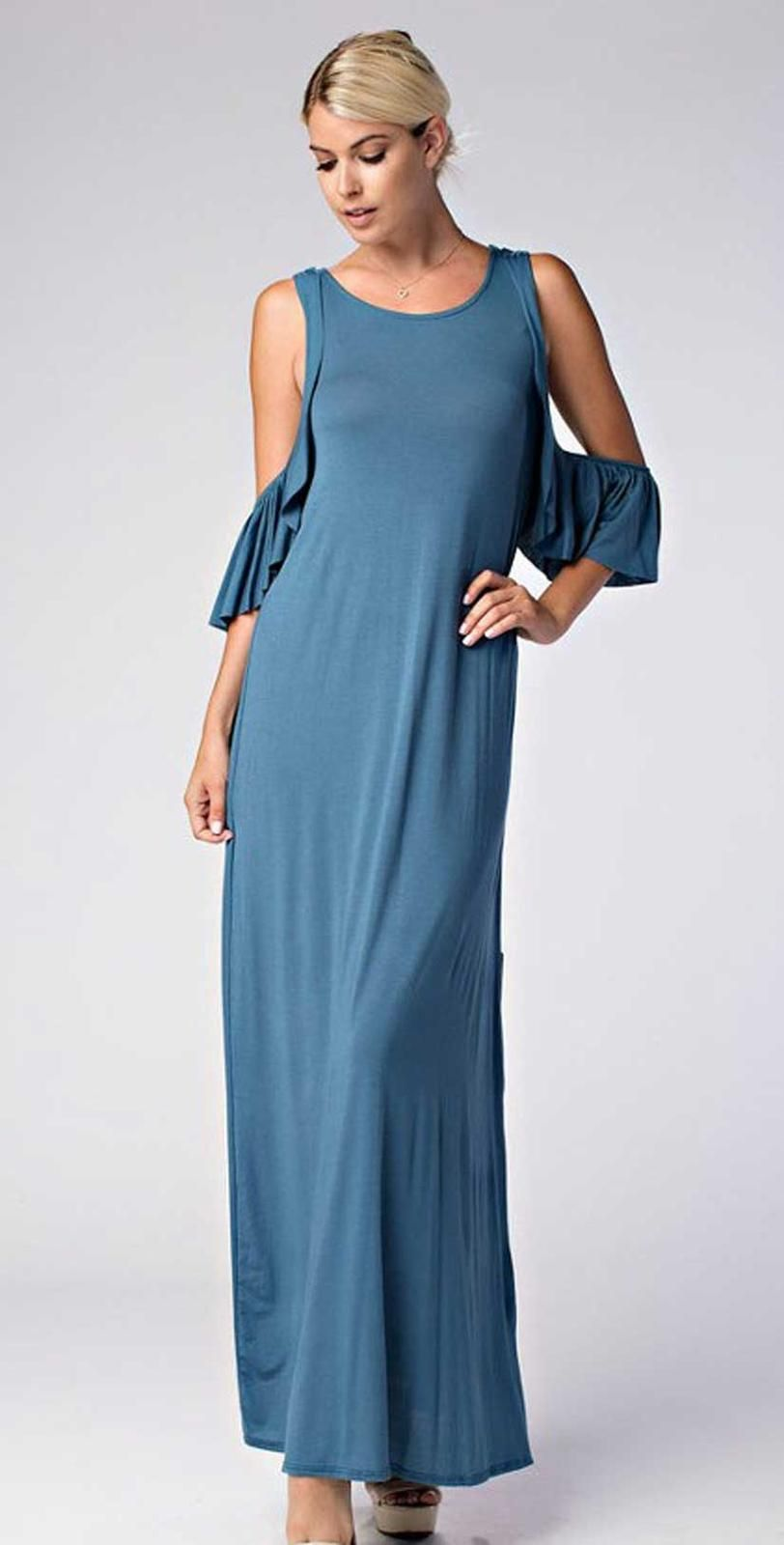 Love in cold shoulder round neck ruffle maxi dress the cold