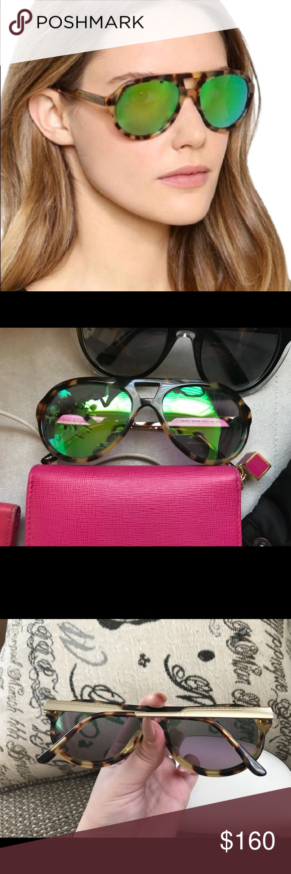Authentic Stella McCartney Green Mirror Aviators Authentic Stella McCartney Blonde Tortoise Shell Green Mirrored Aviators. Absolutely love these! Blonde Tortoise Shell printed exterior, with silver hardware lined arms and green mirrored lenses. Thick aviator shaped. These have been fitted to my face but can be fitted to your face for free at any designer sunglasses store. Very little wear, no significant scratches, in excellent condition. No accessories included unless previously arranged prior