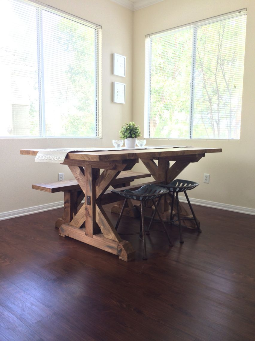 We love our custom farm table, matching bench and tractor seat stools. Made by Bucket of Nails in Fallbrook, Ca. http://www.bucketofnails.com