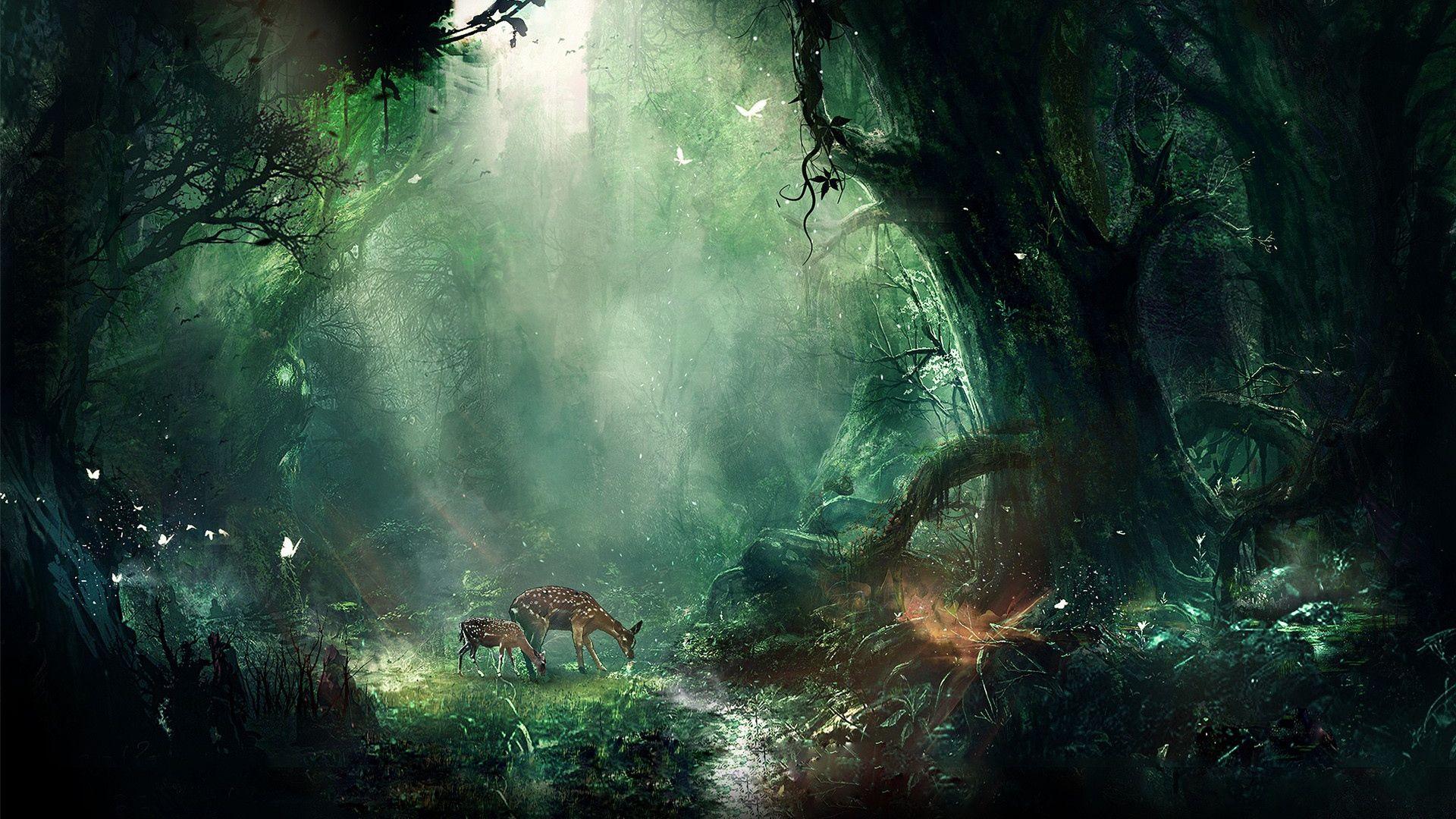 1920x1080 Wallpaper jungle, fantasy, deer, butterflies