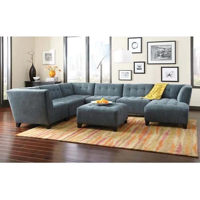 Belaire 6 Piece Modular Sectional in Caprice Cerulean