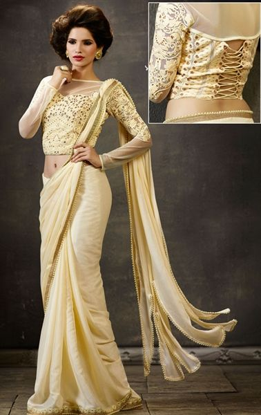 Picture of Mystical Butter Cream Party Wear Saree