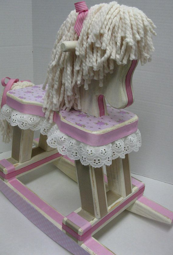 Rocking Horse Shabby Chic with Pink Flowers and Pink by RibbonMade, $160.00